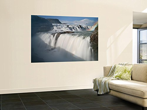 Rainbow Over Waterfall (The Hvita River Roars Over Gullfoss Waterfall, Iceland Wall Mural by Don Grall 48 x 72in)