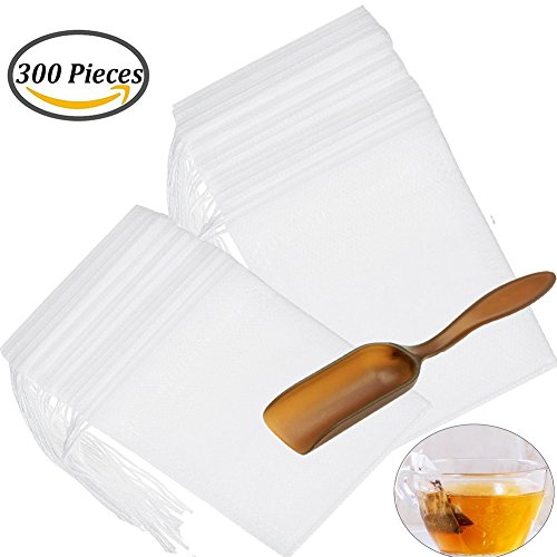 shelling home 300 PCS Disposable Tea Filter Bags with Free Tea Spoon, Empty Cotton Drawstring Seal Filter Tea Bags for Loose Leaf Teal(3.54 x 2.75 inch) (300 PCS)