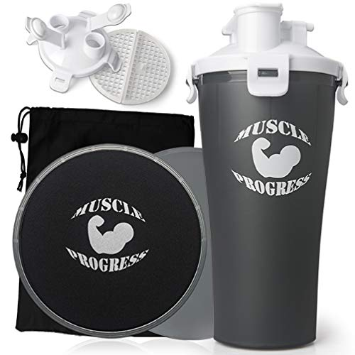 Muscle Progress Dual Shaker Bottle 28oz + 2 Bonus Exercise Sliders Gliding Discs, Dual Protein Powder Fitness Bottle + Core Abdominal Sliders with Gym Fitness E-Book, BPA Free