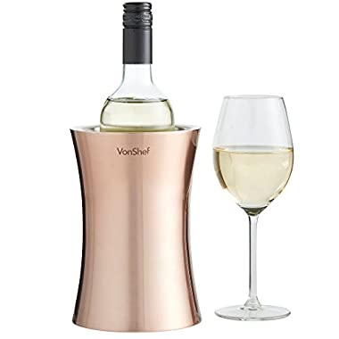 VonShef Copper Stainless Steel Double Walled Wine Bottle Cooler Chiller Stemless Holder