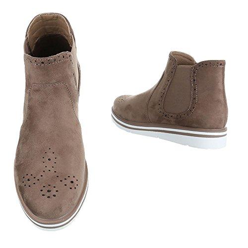 f6d751dd32b82c ... Ital-Design Chelsea Boots Damenschuhe Moderne Stiefeletten Braun Grau  A-45