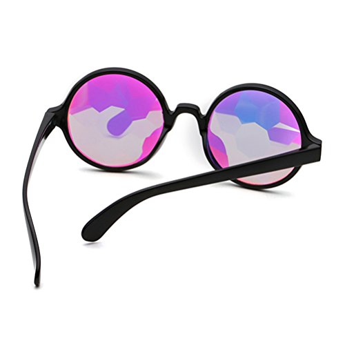 Prisma de negro Caleidoscopio Marco Fiesta sin Gafas Gafas agujeros Rave para Iris de de BESTOYARD Arco Fractal wUTRIxq
