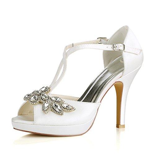 Best 4U® Zapatos De Boda De Las Mujeres Satén Primavera Verano 10CM Heels 1.5CM Plataforma Rhinestone Peep-Toe T-Straps Sandalias De Goma Suela De Noche Zapatos Blanco
