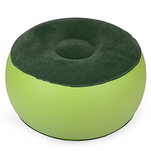 - H&B Luxuries Portable Inflatable Pouf Air Chair Round Footrest, 220 Pounds Capacity IRC02ZQ