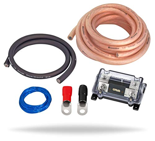 InstallGear 1/0 Gauge Amp Kit Ga Amplifier Installation Wiring (Power Only)
