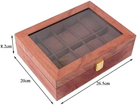 SBSNH ストレージボックス-10グリッドオーガナイザーウォッチボックス木製ウォッチディスプレイボックスジュエリーブレスレットストレージボックス