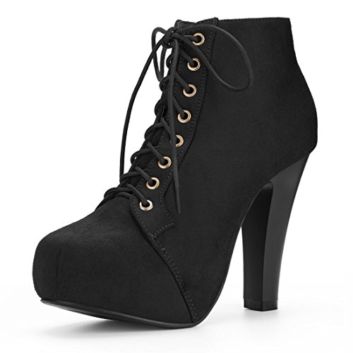 und Toe High Heel Platform Lace up Booties (Size US 8) Black ()