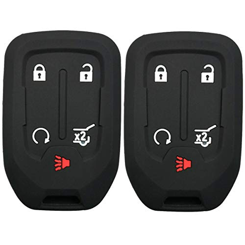2Pcs Coolbestda Silicone Key Cover Case Keyless Protector Fob Remote Wallet Jacket for GMC Yukon Sierra 1500 Chevrolet Suburban Tahoe 5 Buttons Smart Key