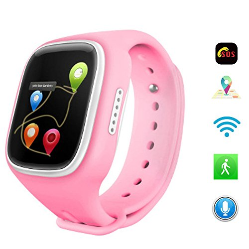 1.44 inch Touch Screen Wifi Anti-lost SOS GPRS Tracker Kids Smart Watch For Smartwatch A6 Tracker Emergency Call Telecom Monitor Parent Control Android Watch Iphone Position Location (Pink) (Sprint Networks)
