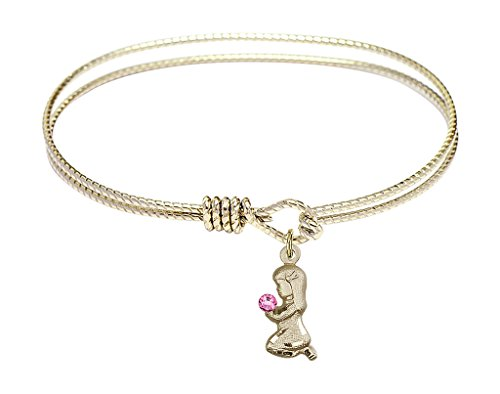 Praying Girl-7 1/4 inch Oval Eye Hook Bangle Bracelet with a Praying Girl charm.-The charm features a Imitation Rose stone.- - Praying Girl Charm