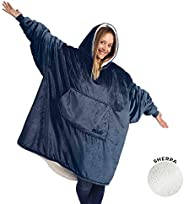THE COMFY   The Original Oversized Wearable Sherpa Blanket, Seen On Shark Tank, One Size Fits All
