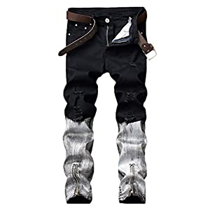 Men's Distressed Ripped Tapered Skinny Pencil Jeans Denim Pants