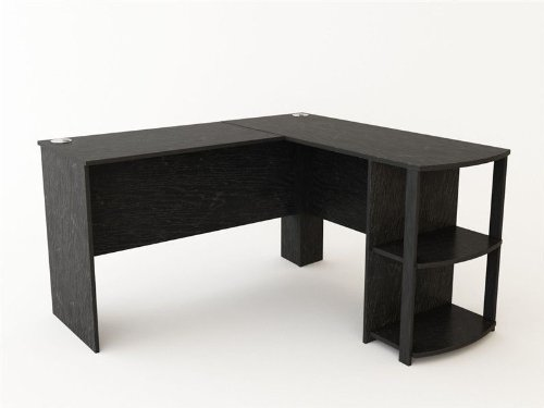 L Shaped Computer Laptop Desk with Side Storage in Gorgeous Dark Cherry Wood for Your Home, Apartment, Dorm, or Office. Complete Any Office Tasks in Comfort and Stay Organized on the Spacious Work Surface, Enough Space for You to Work Comfortably Without Having a Large Bulky Desk.