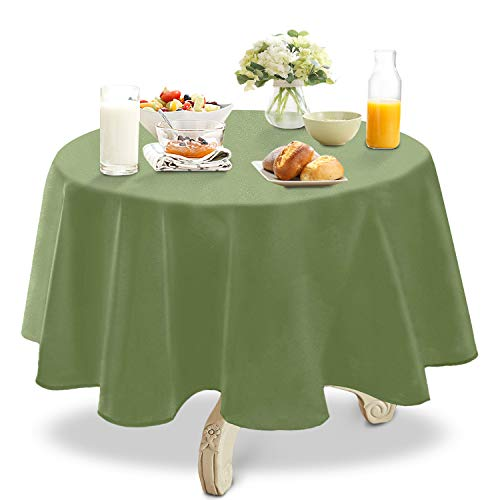 YEMYHOM 100% Polyester Spillproof Tablecloths for Round Tables 60 Inch Indoor Outdoor Camping Picnic Circle Table Cloth (Army Green)