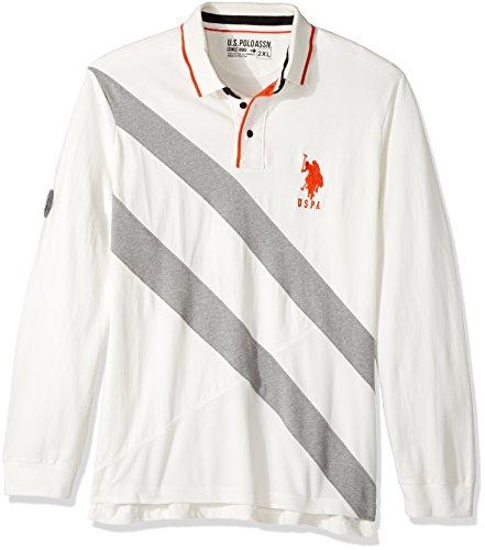 U.S. Polo Assn. Men's Slim Fit Color Block Long Sleeve Pique Polo Shirt, 8578-White Winter, L