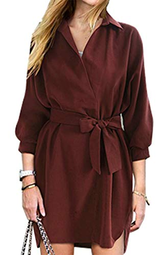Cromoncent Low Neck Casual High Turn Tie V Sleeve Womens Wine Loose Red Dresses Stylish Down Long Knot Bowknot rnr7CqO