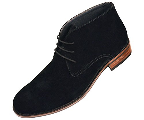 Amali Mens Black Embossed Microfiber Lace Up Desert Boot with Wood Colored Sole: Style Chief-000