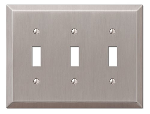 Amerelle 163TTTBN Century Steel 3 Toggle Wallplate, Brushed (Brushed Nickel Wall Plates)