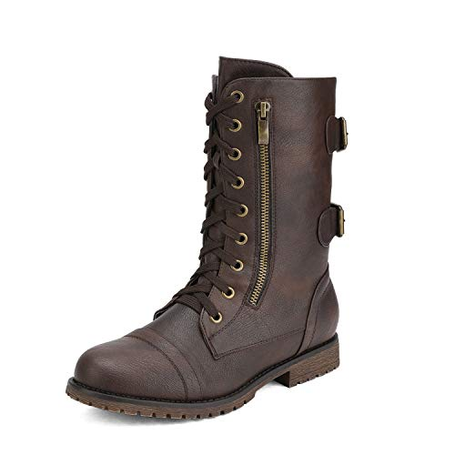 From First To Last Halloween 2019 (DREAM PAIRS Women's Terran Brown Mid Calf Built-in Wallet Pocket Combat Boots - 8 M)