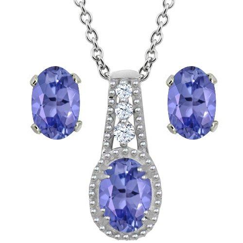 1.73 Ct Oval Blue Tanzanite 14K White Gold Pendant Earrings Set