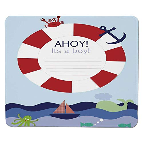 SCOCICI Gaming Locking Mouse Pad,Announcement Card Inspired Composition Maritime Funny Sea Animals Theme Customized Rectangle Non-Slip Rubber Mousepad Gaming Mouse Pad 11.8