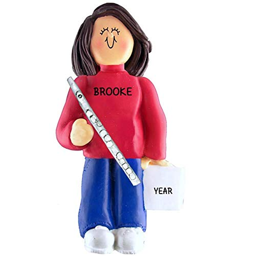 (Flute Player Personalized Music Christmas Ornament Personalized Free (Female Brown Hair))