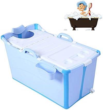 折りたたみバスタブ GYF 折りたたみ大人用浴槽 ポータブルプラスチック浴槽 座るカバー付き ホームアダルト 子供用入浴浴槽ベビースイミングビッグタブ 2色折りたたみバスタブ (Color : Blue)