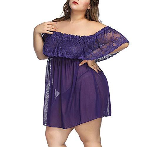 Mini Bodysuit Women Sexy Lingerie Off Shoulder Nightdress Lace Mesh Dress Fat Gift Plus Size Cute Chemises Ladies 7X Purple