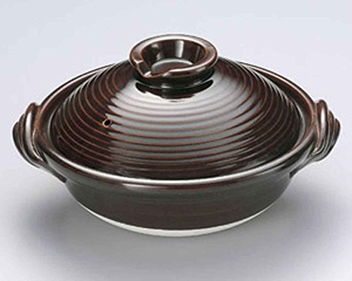Candy-Glaze for 6-8 persons 14.4inch Donabe Japanese Hot pot Brown Ceramic Made in Japan by Watou.asia