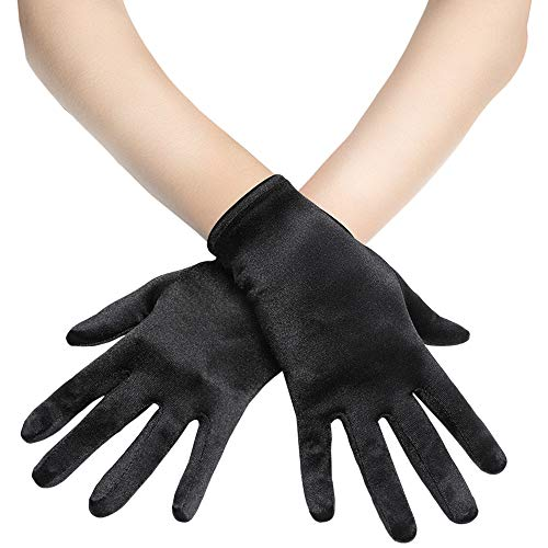 BABEYOND Short Opera Satin Gloves Wedding Evening Gloves Special Occasion Gloves Wrist Length Tea Party Gloves 8.7