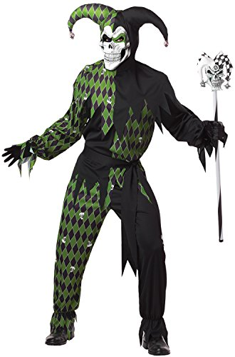 Jester Halloween Costumes Adults (California Costumes Men's Jokes On You! Adult, Black/Green,)