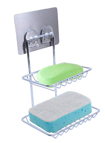 Removable Double Layer Soap Holder Shelves Kitchen Storage Organizer Rack Chrome Bathroom Soap Caddy Adhesive Magic Sticker Storage Caddy Shower Laundry Room Organizers - Chrome Soap Double
