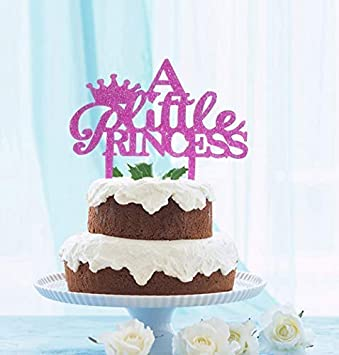 GrantParty A Little Princess Crown Cake Topper Purple Glitter