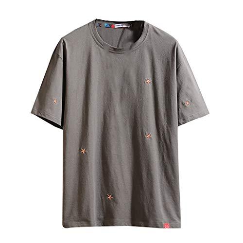 TUSANG Men Tees Summer Casual Solid Color O-Neck Short Sleeve T-Shirt Top Blouse Loose Comfy Tunic T Shirts(Gray,US-8/CN-L)