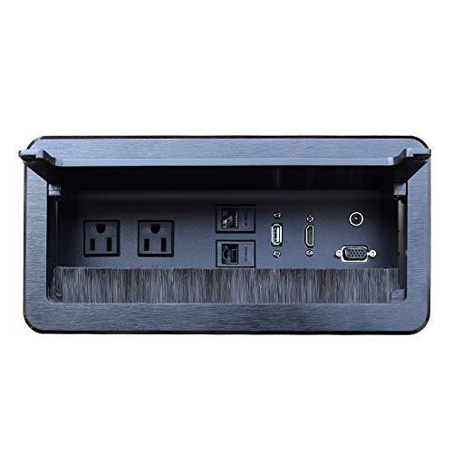 Tabletop Bursh Connectivity Box Outlet with Socket HDMI LAN VGA Power for Desktop Conference