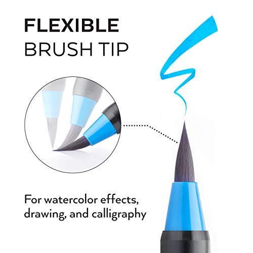 Arteza Real Brush Pens 96 Paint Markers with Flexible Brush Tips Professional
