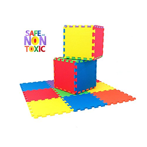 (NON-TOXIC Extra Thick 9 Piece Children Play & Exercise Mat - Comfortable Cushiony Foam Floor Puzzle Mat, 6 Vibrant Colors for Kids & Toddlers)