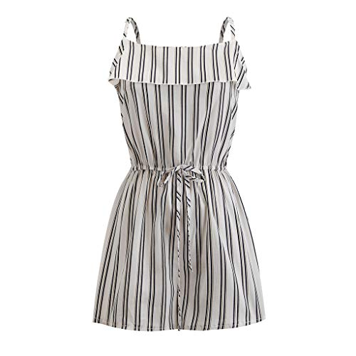 Summer Women Casual Print Sleeveless Backless Playsuit Clubwear Jumpsuit Rompers&ANJUNIE(Black1,M) ()