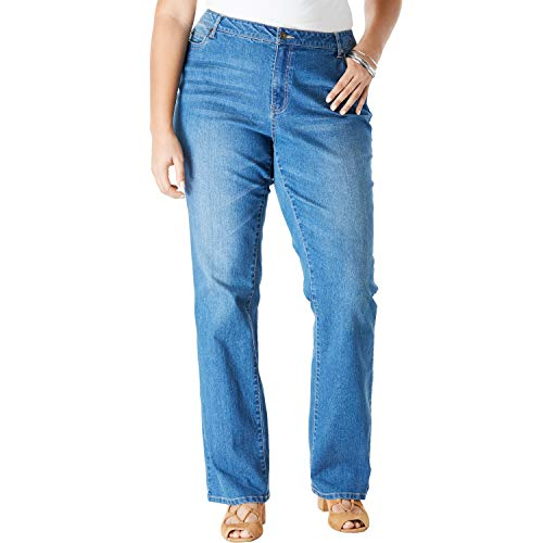 Roamans Women's Plus Size Bootcut Jean with Invisible Stretch - Medium Wash, 16 W