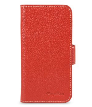 Melkco Premium Leather Case for Apple iPhone 5S - Wallet Book Type (Red LC)