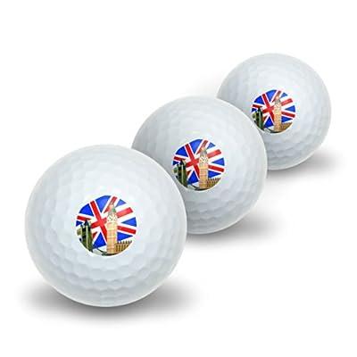 London - England UK Big Ben London Bridge Phone Box Novelty Golf Balls 3 Pack