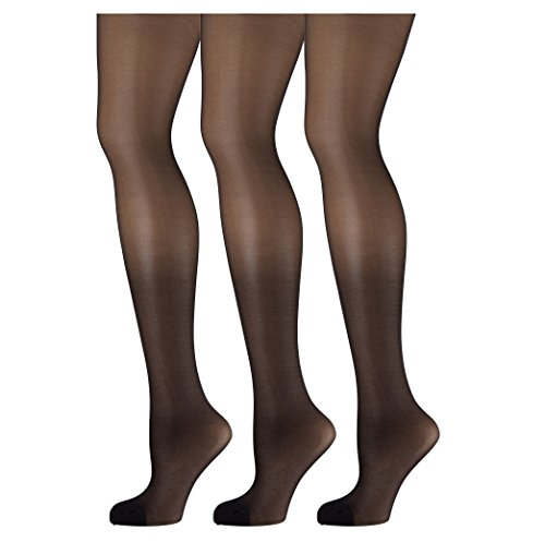 feb5d682b0f 3 Pack of Mod   Tone Sheer Support Control Top 30D Womens Pantyhose(Black