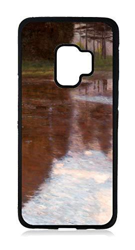 Artist Gustav Klimt's Tranquil Pond Painting Print Design Black Rubber Case for The Samsung Galaxy s9 - Samsung Galaxy s9 Accessories