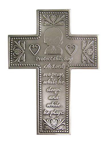 Protect This Boy Pewter Wall Cross for First Communion or Baptism 5 3/8 Inch (Boy First Communion Cross)