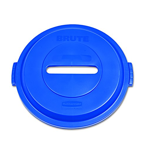 Round Paper Recycling Container (Rubbermaid Commercial 1788378 BRUTE Heavy-Duty Round Waste/Utility Container, 32-gallon Plastic/Paper Recycling Lid, Blue)