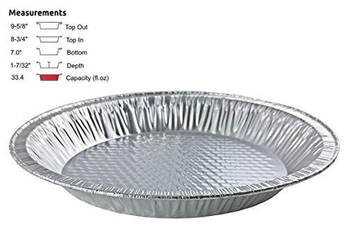 Handi-Foil 10 inch (Actual Top-Out 9-5/8 Inches - Top-In 8-3/4 Inches) Aluminum Foil Pie Pan - Disposable Baking Tin Plates Made in USA (Pack of 12)