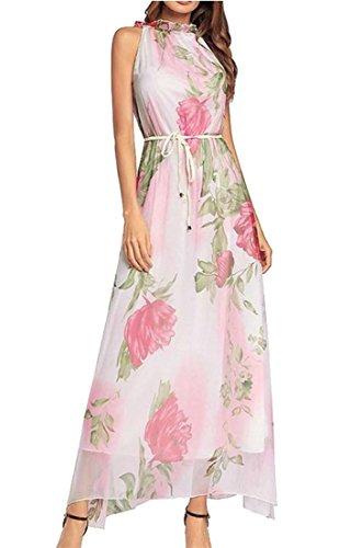 Cromoncent Dress Women's Bohemia Print Ruffle Sleeveless White Long Neck Chiffon SS8xrwP