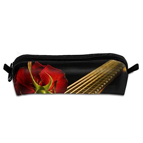EWFBVa Durable Zipper Stationery Bag Guitar Red Musical Instrument Red Flowers Flowers Big Capacity Pencil Case