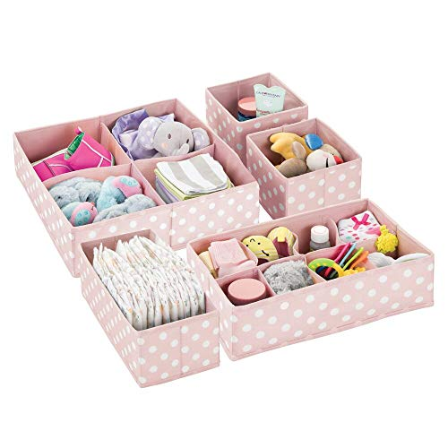 mDesign Soft Fabric Dresser Drawer and Closet Storage Organizer Set for Child/Kids Room, Nursery, Playroom - 5 Pieces, 15 Compartments - Fun Polka Dot Print - Pink/White