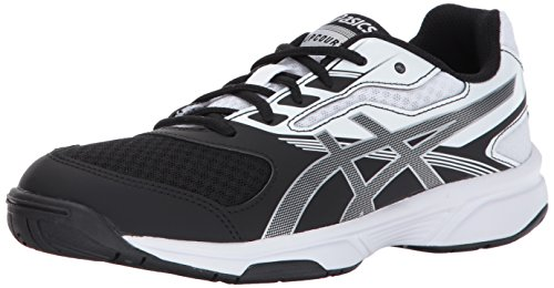 ASICS Women's Upcourt 2 Volleyball Shoe, Black/Silver/White, 5.5 Medium US